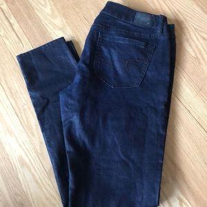 American Eagle skinny jeans metallic blue